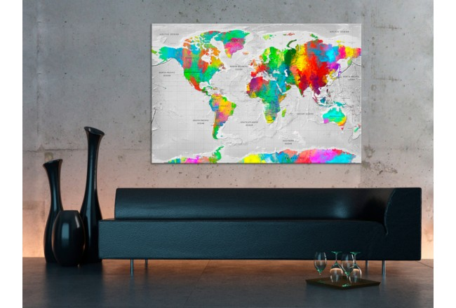 Tablero decorativo en corcho Maps: Colourful Finesse [Cork Map] 95926 additionalImage 3