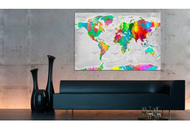 Tablero decorativo en corcho Maps: Colourful Finesse [Cork Map] 95926 additionalImage 2