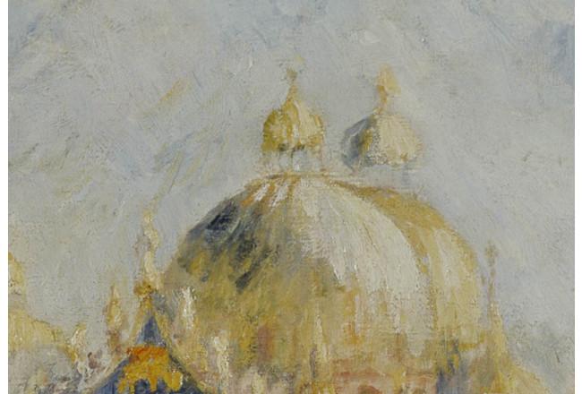 Quadro Stampa su Tela Vernice Effetto Pennellate Renoir The Piazza San Marco
