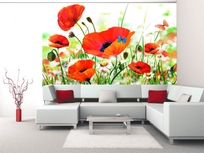 Fotomural decorativo Country poppies 60656