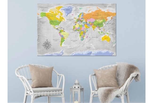 Decorative Pinboard World Map: Wind Rose [Cork Map] 95956 additionalImage 3