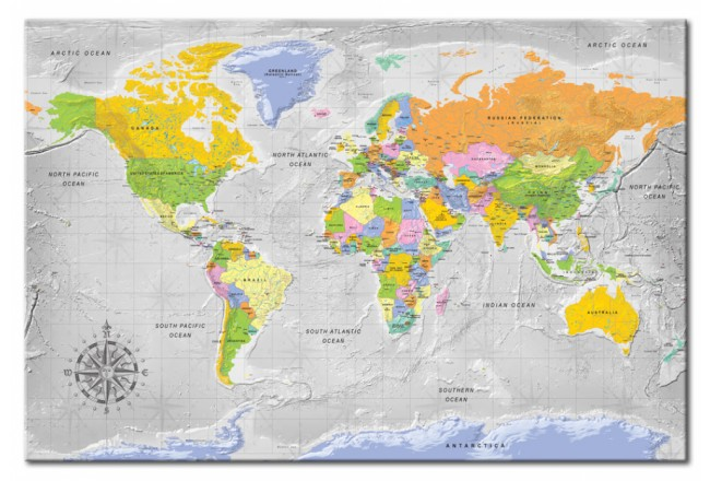 Decorative Pinboard World Map: Wind Rose [Cork Map] 95956 additionalImage 1