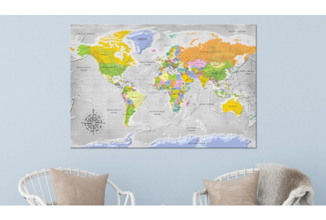 Decorative Pinboard World Map: Wind Rose [Cork Map] 95956 additionalImage 2