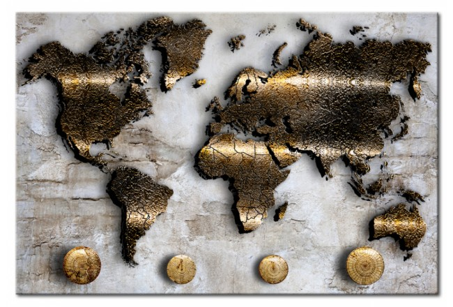 Decorative Pinboard Golden Journey [Cork Map] 92166 additionalImage 1