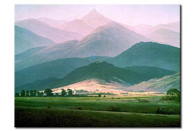 Riproduzione quadro Paesaggio nel Riesengebirge - Caspar David ...