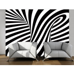Photo Wallpaper Optical art: black and white 97686
