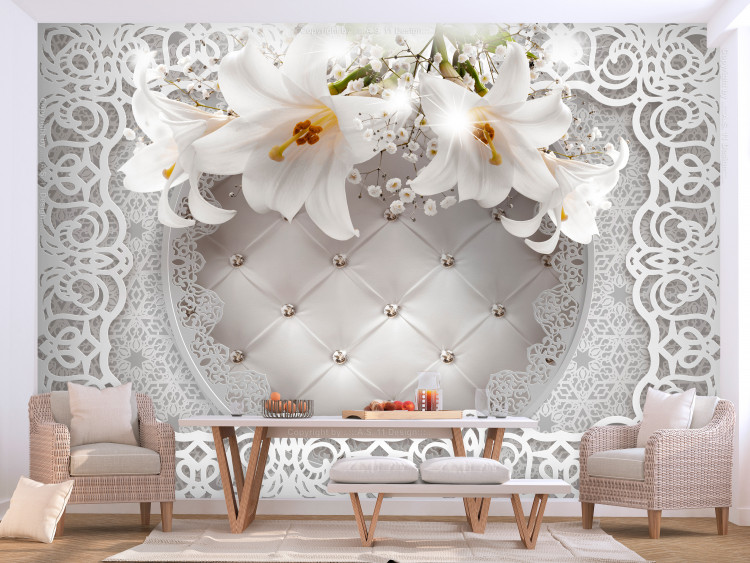 Lilies and Quilted Background
