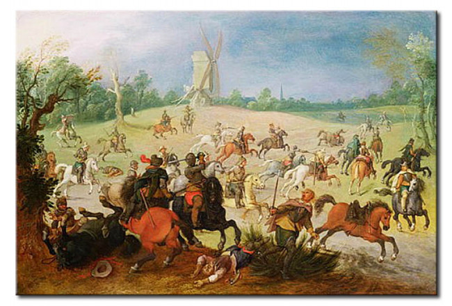 Wandbild A cavalry battle in a wooded valley before a windmill 111096