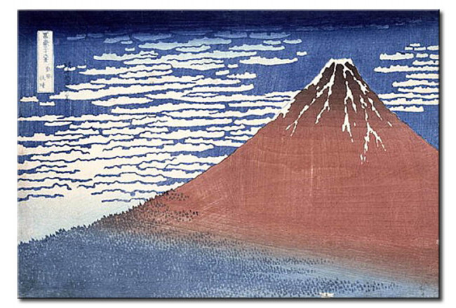 Riproduzione Fine weather with South wind, from 'Fugaku sanjurokkei' (Thirty-Six Views of Mount Fuji) 107747