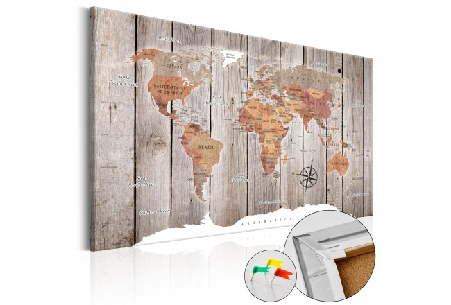 Decorative Pinboard Wooden Stories [Cork Map] 92247
