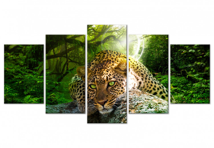 Leopard Lying (5 Parts) Wide Green