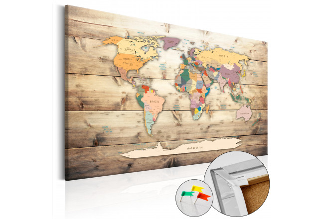 Dekorative Pinnwand The World at Your Fingertips [Cork Map] 92157