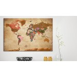 Quadro World Map: Brown Elegance [Cork Map] 96057 additionalThumb 2