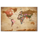 Quadro World Map: Brown Elegance [Cork Map] 96057 additionalThumb 1