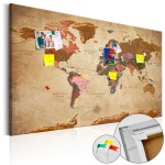 Decorative Pinboard World Map: Brown Elegance [Cork Map] 96057
