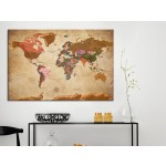 Quadro World Map: Brown Elegance [Cork Map] 96057 additionalThumb 3