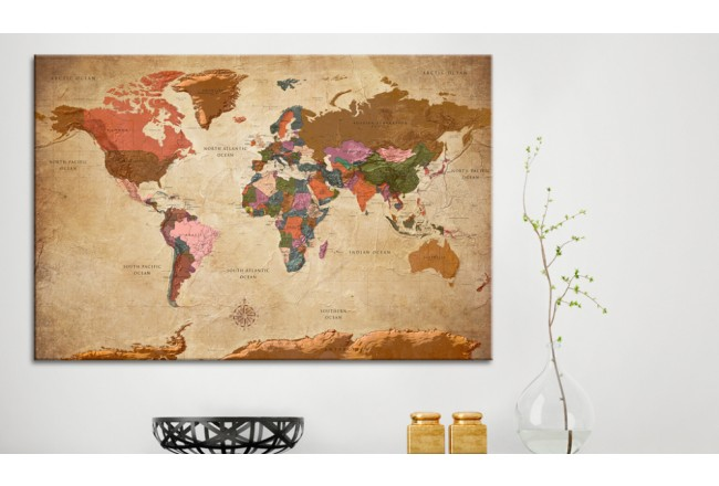Quadro World Map: Brown Elegance [Cork Map] 96057 additionalImage 2