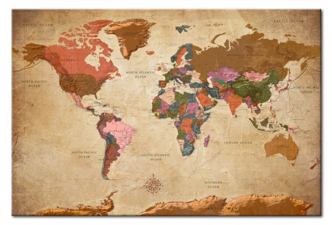 Quadro World Map: Brown Elegance [Cork Map] 96057 additionalImage 1