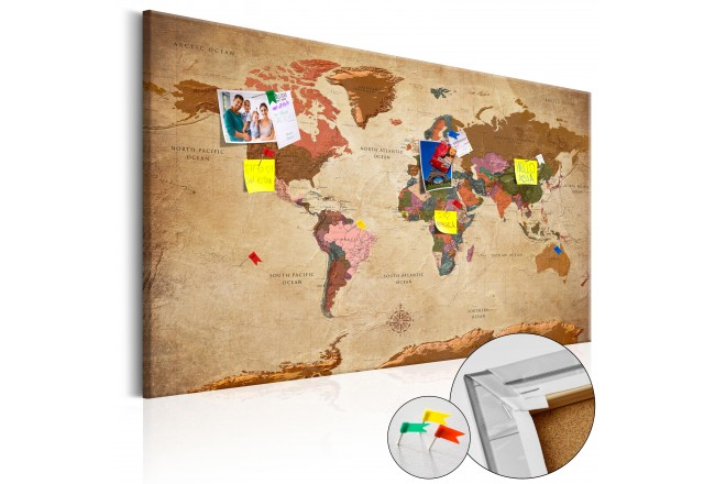 Decorative pin board world map brown elegance cork map world map brown elegance cork map 96057 gumiabroncs Image collections