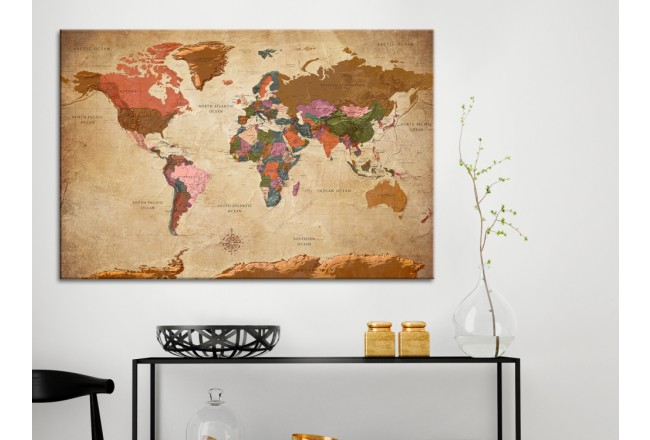 Quadro World Map: Brown Elegance [Cork Map] 96057 additionalImage 3