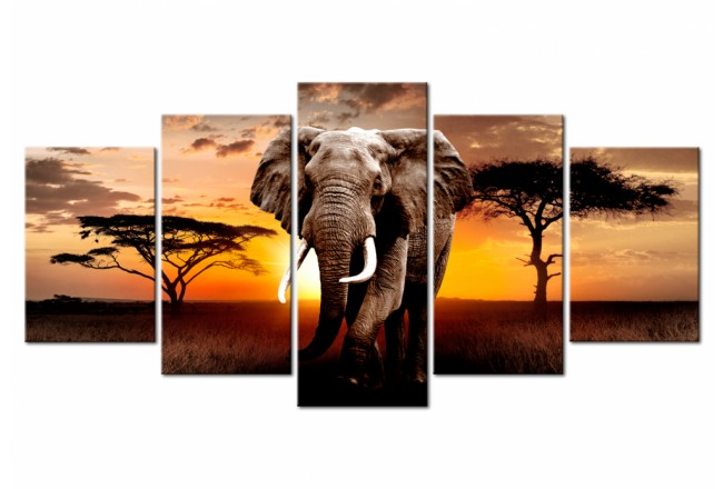 Print On Glass Elephant Migration [Glass] 106187 additionalImage 1
