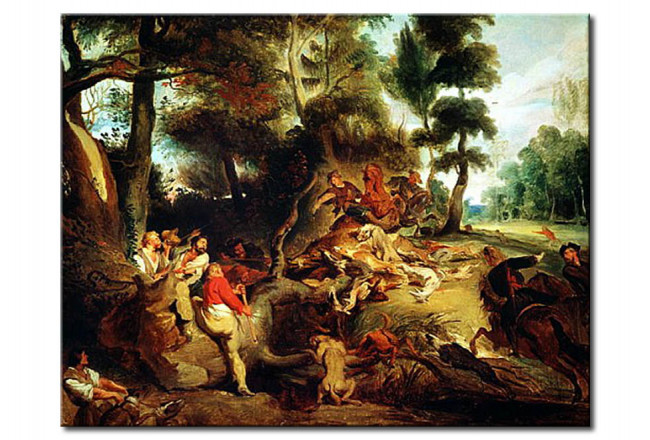 Quadro famoso The Wild Boar Hunt, after a painting by Rubens 110408