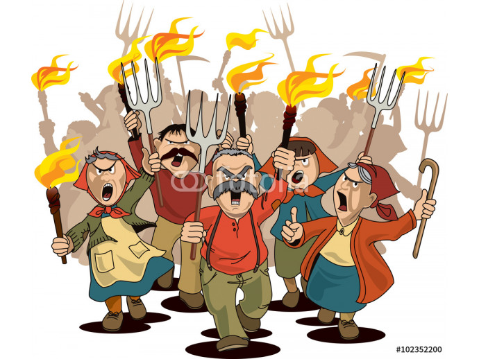 Angry villagers on the march 64238