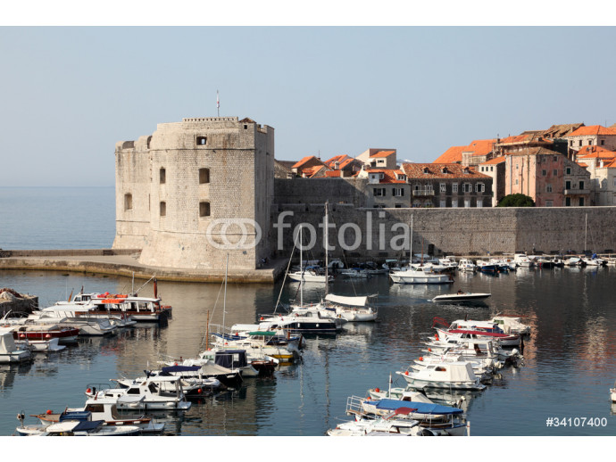 Yachts in front of fortified historic town Dubrovnik, Croatia 64238