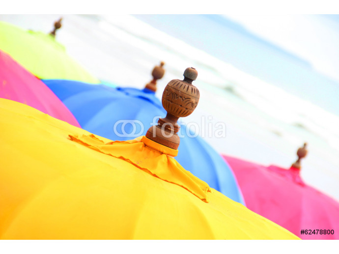 Wallpaper Top of a Colorful Beach Umbrella against the Sky 64238