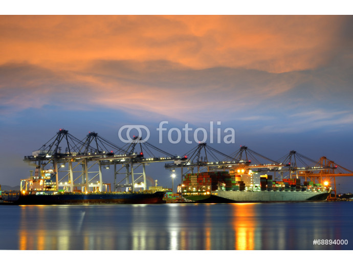 Container Cargo freight ship with working crane 64238