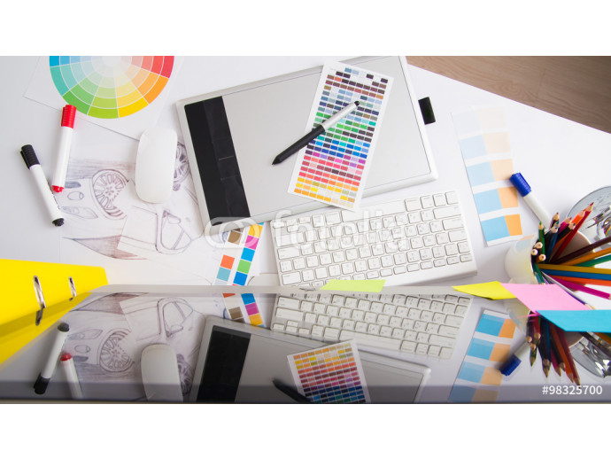 Modern office workplace with digital tablet, notepad, colorful p 64238