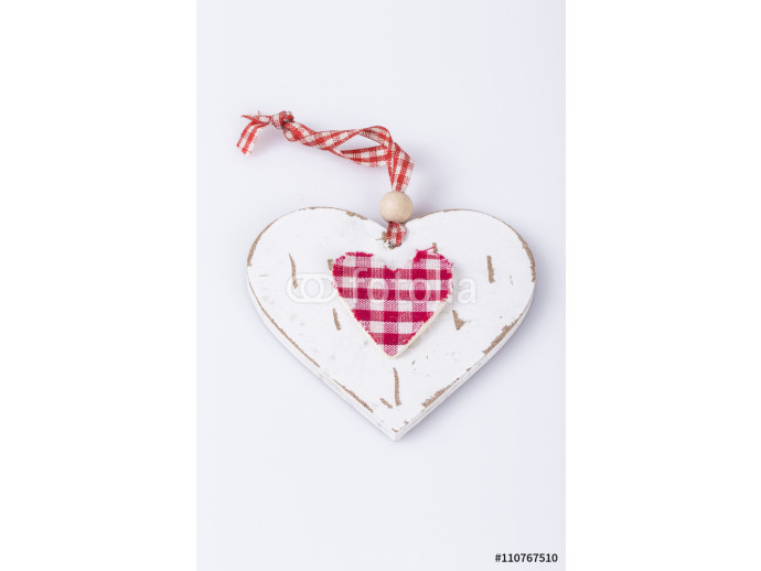wooden red and white heart 64238