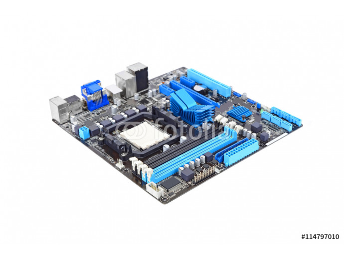 Fototapeta Printed computer motherboard board, isolated on a white background 64238