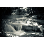 Multiple waterfall scene in black and white 64238