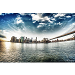 Spectacular view of Brooklyn Bridge from Brooklyn shore at winte 64238
