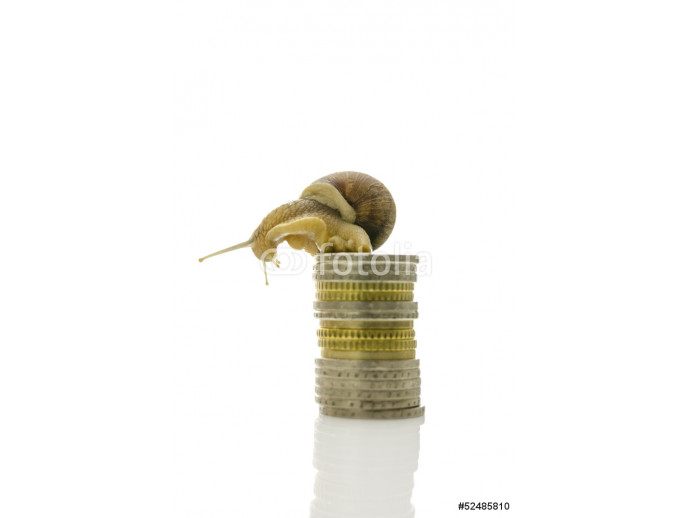 Snail sitting on top of coin stack 64238
