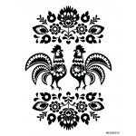 Polish ethnic floral embroidery with roosters in black and white 64238