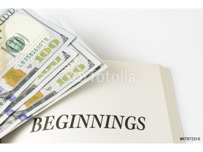 "Fotomurale Book And Pile Of Cash ""Beginnings"" 64238"