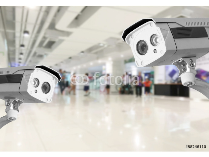 CCTV Security camera shopping department store background. 64238