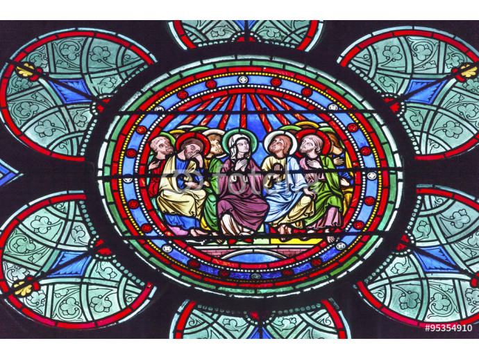 Mary Jesus Disciples Stained Glass Notre Dame Cathedral Paris 64238
