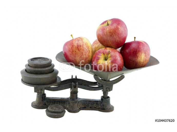 Antique Kitchen Scales with 5 Apples 64238