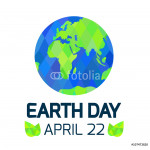 Earth Day card on white background. 64238