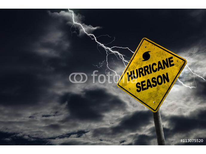 Hurricane Season Sign With Stormy Background 64238
