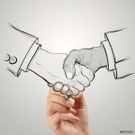 hand drawn handshake sign as partnership business concept 64238