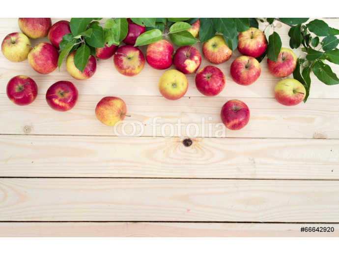 Apples on wooden board background 64238
