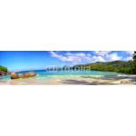 Seychelles coastline panorama with typical granite rocks 64238