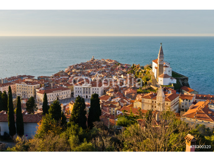 Panoramic view of adriatic sea and city of Piran in Istria 64238