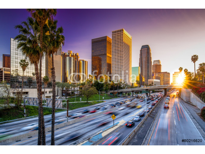 Los Angeles downtown skyline sunset buildings highway 64238