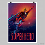 Superhero in action. Flying over night city. Poster layout 64238