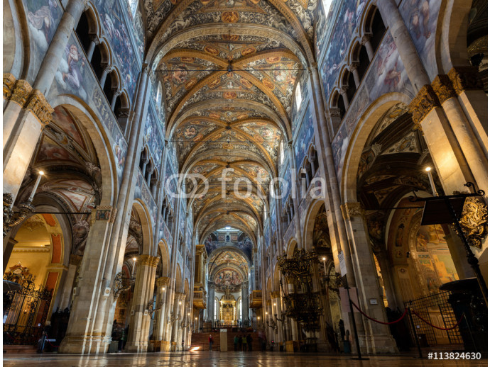 12th-century Romanesque Parma cathedral filled with Renaissance art. Its ceiling fresco by Correggio is considered a masterpiece of Renaissance fresco work. 64238